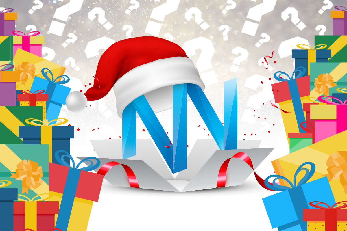 Nugget's News Logo with Santa hat including questions marks and Christmas presents
